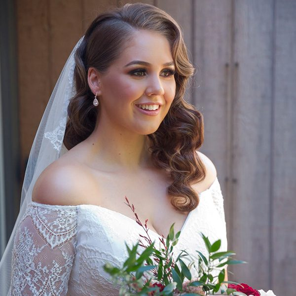 Bride wearing beautiful wedding dress, in Perth